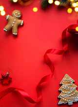 "Постер, картина, фотообои ""Christmas holidays ornament flat lay; Christmas decoration card background"""