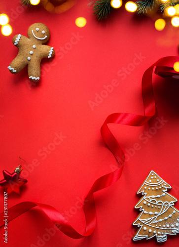 Christmas holidays ornament flat lay; Christmas decoration card background