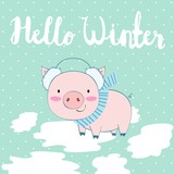 Vector cute winter illustration with pig and snow.