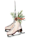 Watercolor vintage skates with Christmas decor. Hand painted white skates with fir branches, berries and fir cone isolated on white background. Holiday symbol for design, print. Seasonal sport object. - 231482486