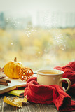 Autumn tea with scarf and leaves in front of window, copy space - 231484636