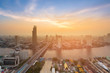 Leinwandbild Motiv Aerial view Bangkok city skyline with after sunset sky background, Thailand
