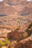 Arizona desert is diverse red slick rock cliffs surround Canyon Lake in the wilderness east of Phoenix with desert plants adding to the beauty of these landscape photographs