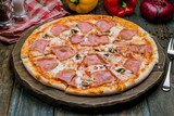 Pizza with ham and mushrooms - 231492637