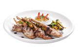 Baked rack of lamb with onions on a white plate - 231494295