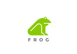 Frog Logo silhouette vector design geometric style. Animal icon