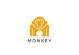 Monkey Logo silhouette vector design geometric. Gorilla icon