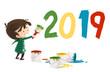 niño pintando el año nuevo 2019
