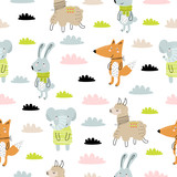 Vector seamless pattern with cartoon cute animals for kids. Perfect for baby shower, postcard, label, brochure, flyer, page, banner design. © Alexandra