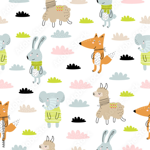mata magnetyczna Vector seamless pattern with cartoon cute animals for kids. Perfect for baby shower, postcard, label, brochure, flyer, page, banner design.