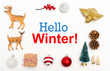 Hello winter message with small Christmas ornaments on a white background