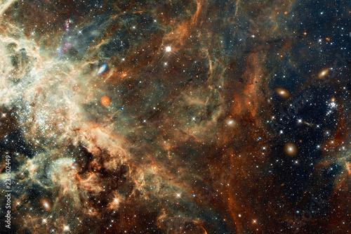 Deep Space Cosmic Chaos, Galaxies, Stars, Nebula Abstract Art Created Using Authentic Imaging Data From HI NASA