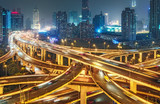 Scenic view on large highway interchange in Shanghai, China at night. Scenic skyline. - 231503626
