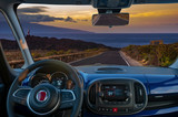vision of traveling by car, the view from behind the steering wheel - 231511604