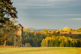 hunting tower at the edge of the forest in autumn scenery © Mike Mareen