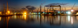 industrial areas, shipyard and port after sunset ,panorama- Szczecin, Poland - 231515276