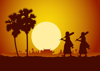 monk walk out of temple pilgrimage the road to make merit in rural and forest. for peace silent and dharma in sunset scene silhouette style