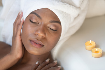 Young African-American Woman Spa Treatment Relaxing © terryleewhite