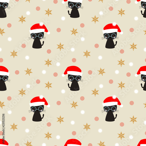 fototapeta na ścianę Cute blackcat in Christmas season seamless pattern.