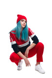 Trendy hip-hop young woman in squat - 231525429