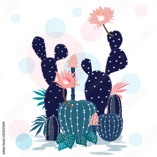 Beautiful  Cactus collection. Sketchy style illustration. - 231527844