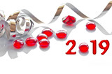 2019, ribbon and glass christmas decorations - 231532697