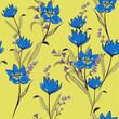 Colorful sketched seamless pattern flower print in bright blue colors - 231532847