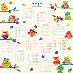 2019 Calendar with cartoon owls