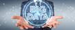 Leinwanddruck Bild - Businessman using Big Data digital hologram 3D rendering