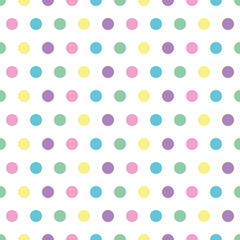 seamless background of pastel colored polka dots on white