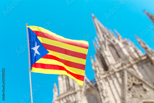 Catalan flag against Barcelona Cathedral Holy Cross and Saint Eulalia