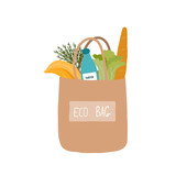 Eco bag with foods.  Vector hand drawn illustration. - 231545225