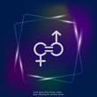 Gender equality vector neon light icon. Sign of a man and woman are equal. Layers grouped for easy editing illustration. For your design.