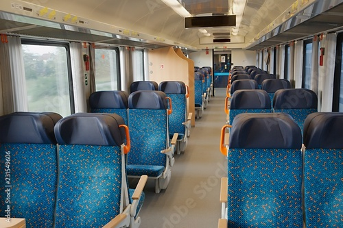 Leinwanddruck Bild Passenger Train interior