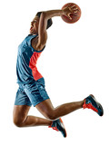 one african Basketball players woman teenager girl isolated on white background with shadows - 231552841