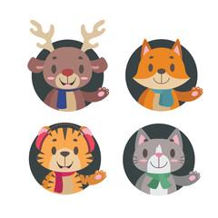 Cute little animals in winter apparel