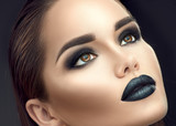 Fashion model girl portrait with trendy gothic black make-up. Young woman with black lipstick, dark smokey eyes, face contouring, beauty eyebrows - 231560642
