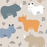 Hippopotamus seamless pattern. childish Vector illustration for fabric, textile, clothes, wallpaper, - 231560897