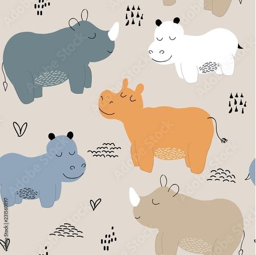 fototapeta na ścianę Hippopotamus seamless pattern. childish Vector illustration for fabric, textile, clothes, wallpaper,