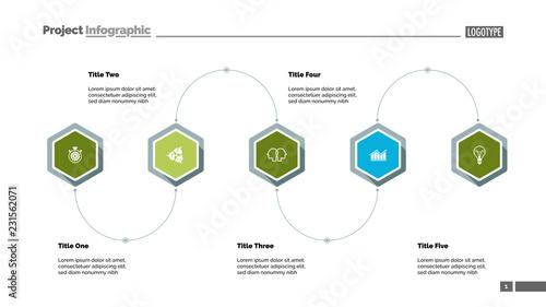 Five step process diagram slide template. Business data ...