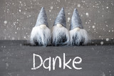 Three Gray Gnomes, Cement, Snowflakes, Danke Means Thank You - 231562484