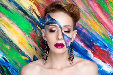 woman blue art make up © olgaosa