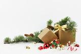 decorazioni natalizie sullo sfondo bianco - 231565010
