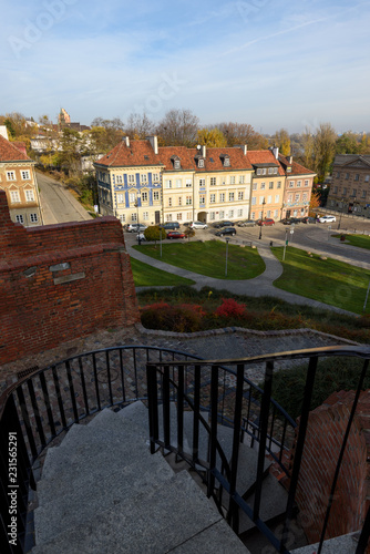Residential buildings in the Old Town of Warsaw in autumn , Poland.