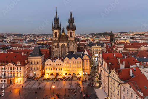 Church of Our Lady in Prague, aerial view, night lights, Czech Republic