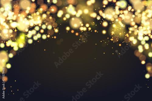 Abstrakcjonistyczna defocused kółkowa Bożenarodzeniowa złota bokeh błyskotania błyskotliwości świateł tło. Magiczne tło Boże Narodzenie. Eleganckie, błyszczące, metaliczne złote tło. EPS 10.