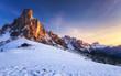 Leinwandbild Motiv Fantastic winter landscape, Passo Giau with famous Ra Gusela, Nuvolau peaks in background, Dolomites, Italy, Europe