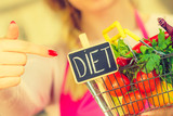 Shopping backet with dieting vegetables