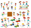 Set of children playing