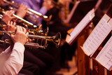 Trumpets in the hands of the musicians in the orchestra  - 231620671